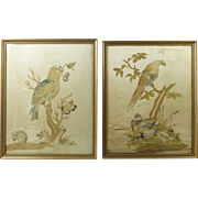 18th Century English Silkwork Needlework Pair Embroidery Parrot Mouse and Ducks Georgian Circa 1790