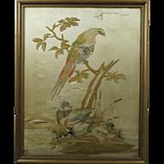 18th Century Georgian Silkwork Needlework Embroidery Birds Pheasant Ducks Circa 1790