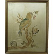 18th Century Georgian Silkwork Needlework Embroidery Parrot Mouse English Circa 1790