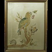 18th Century Georgian Silkwork Needlework Embroidery Parrot Mouse English Circa 1790