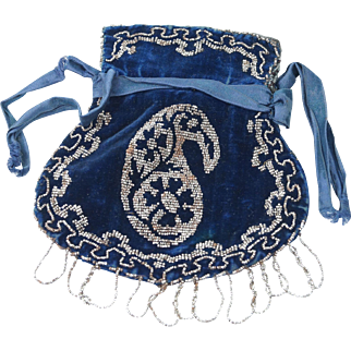 Antique English Regency Reticule Purse Blue Velvet and Cut Steel Beadwork Circa 1825