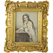 Antique 19th Century Miniature Gilt Swept Frame with Victorian Engraving Print Amy Dudley Nee Robsart Sir Walter Scott English Circa 1841