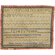 Antique 19th Century Miniature Sampler Emily Gibson Dated 1855 of Furneux Pelham England Lovely