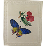 Antique Early 19th Century original Watercolor Painting Embossed Butterfly Circa 1830 Georgian