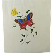 Antique Early 19th Century Folk Art Watercolor Painting Butterfly Flower Circa 1830 Georgian