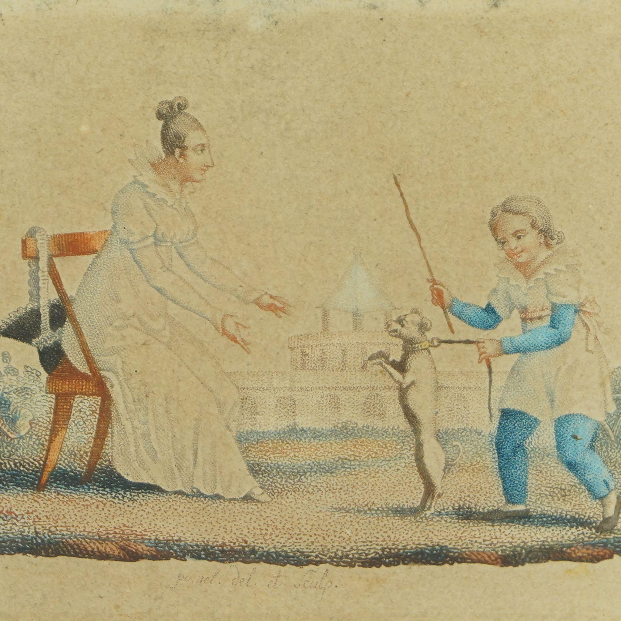 Antique Circa 1820 Pair Miniature French prints Child And Dog