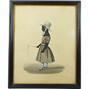 Georgian Painted Child Silhouette Portrait In Riding Clothing English Circa 1830 Folk Art