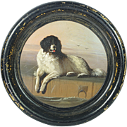 Early Victorian Newfoundland Dog  Papier Mache Plate Tray After Landseer A distinguished member of the Humane Society Circa 1850