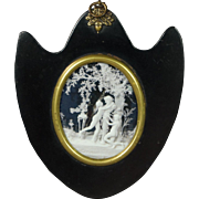 19th Century Regency Empty Portrait Miniature Frame Papier Mache Rare Shield Shape Georgian Circa 1815