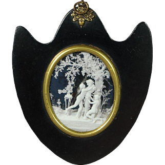 19th Century Regency Empty Portrait Miniature Frame Papier Mache Rare Shield Shape Georgian Circa 1815