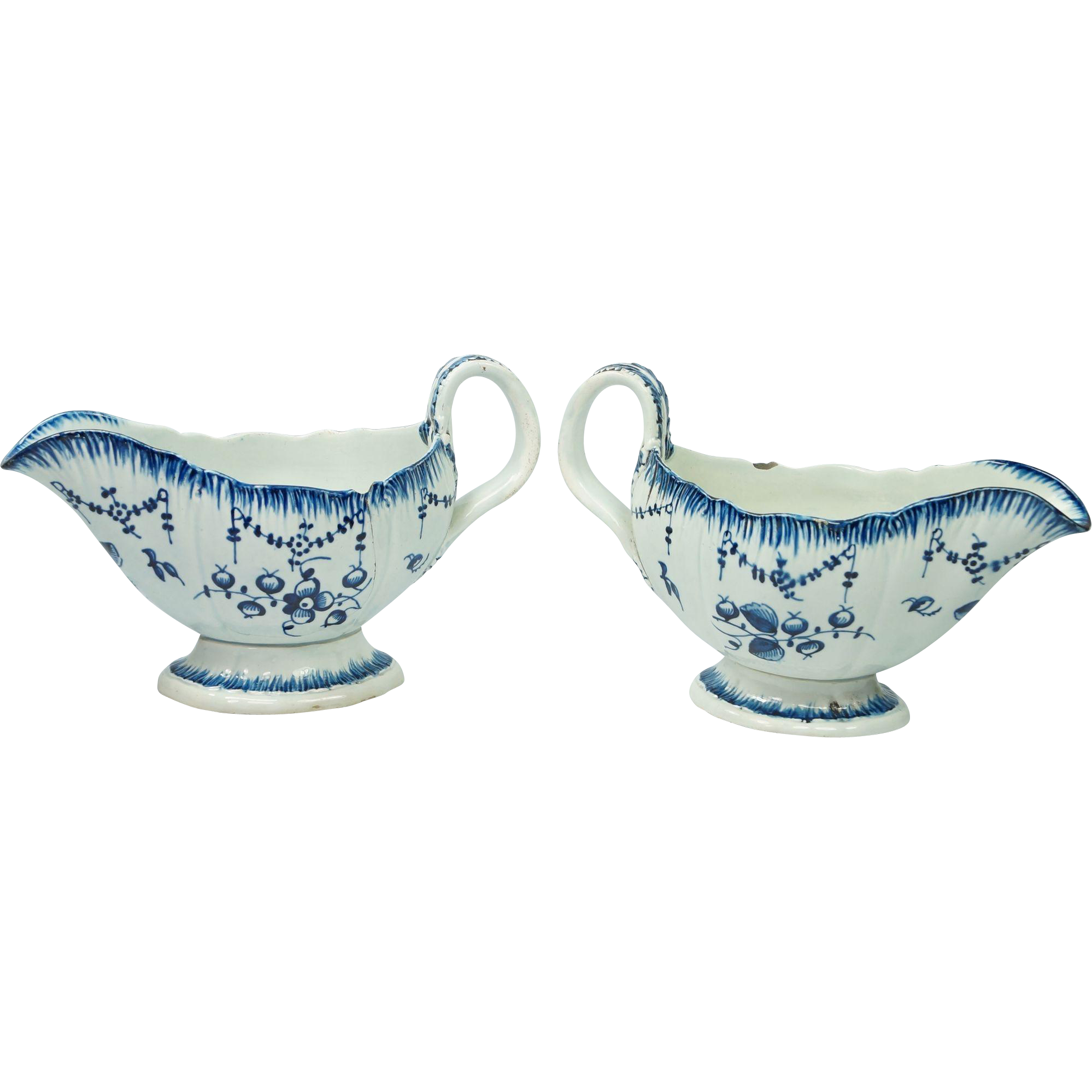 18th Century Blue And White Pearlware Sauce Boat Pair Queens Blue Pattern Circa 1790 AF