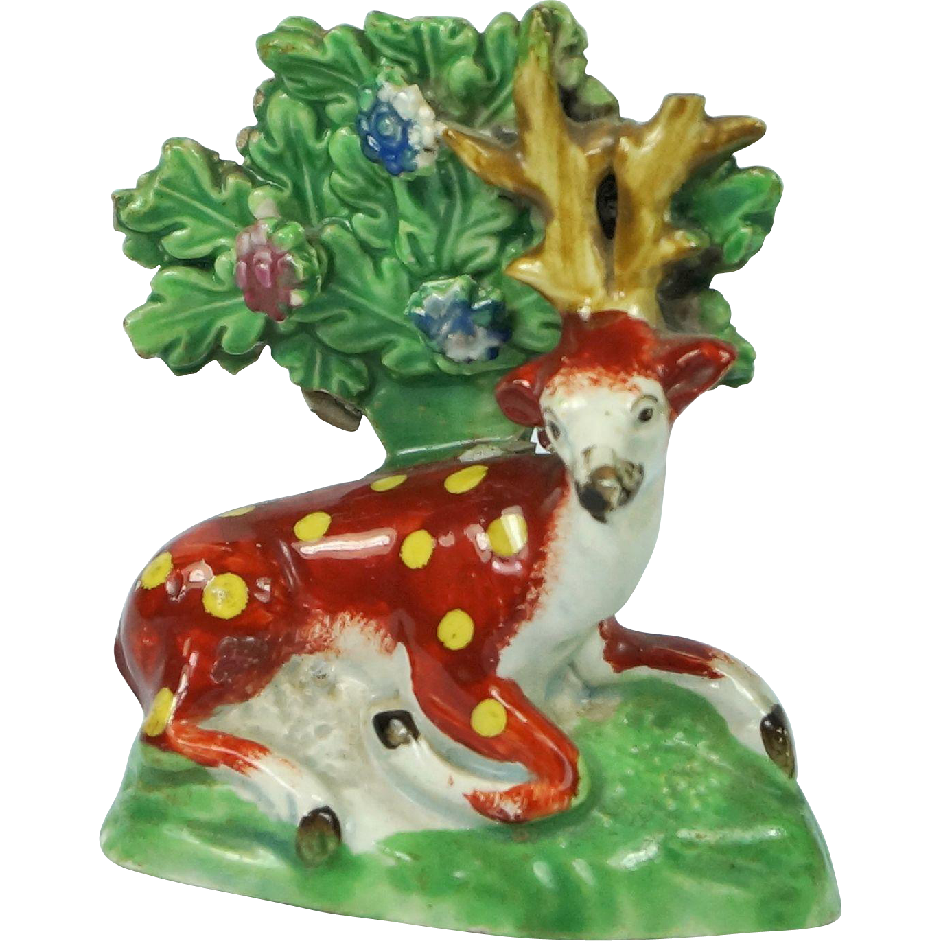 Early 19th Century Miniature Pearlware Staffordshire Pottery Stag Circa 1820 Georgian
