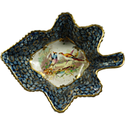 Antique 19th Century Pickle Dish Leaf Shape Exotic Birds