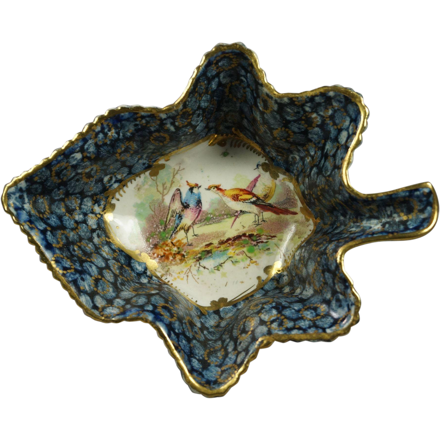 Antique 19th Century Pickle Dish Leaf Shape Exotic Birds