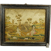 English 18th Century Needlework On Silk Embroidered Picture Piping Shepherd Dog Small Size Georgian Circa 1740