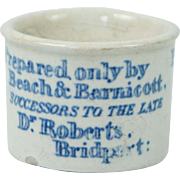Antique Victorian Blue and White Transferware Medical Ointment Pot Poor Man's Friend Beach and Barnicott Circa 1900