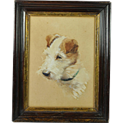 Antique Jack Russell Dog Watercolor Portrait Signed Evelyn Lina Beckles British Artist Born 1888