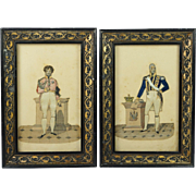 Antique Miniature Pair Dressed Print Collage Tinsel Print Pictures George IV William IV English Circa 1830s