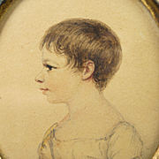 Early 19th Century Child Portrait Miniature Signed Albin Roberts Burt Circa 1812 Regency