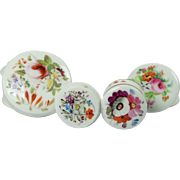 Georgian Collection Four Miniature Coalport and Derby Hand Painted English Porcelain Rouge or Cosmetic Pots Circa 1825