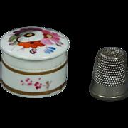"19th Century Georgian Miniature 1"" Porcelain Vanity Rouge Pot Dolls Box Hand Painted English Circa 1820"