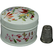 19th Century Hand Painted English Porcelain Rouge Patch Cosmetic Pot Circa 1830
