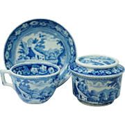 Antique Georgian Childs Minton Blue And White Transferware TOY Cup and Saucer And Sucriere Cottage And Cart Pattern English Circa 1820