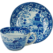 Early Blue And White Transferware Miniature Toy Cup And Saucer Opium Smoker Pattern Pearlware Circa 1805