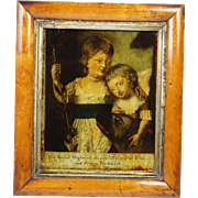 Antique 18th Century Reverse Painted Mezzotint Under Glass George Prince of Wales and Prince Frederick Circa 1780