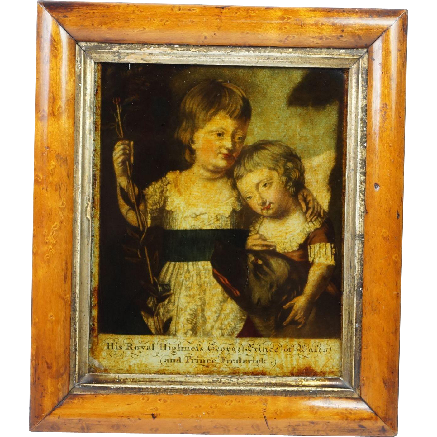Antique 18th Century Reverse Print On Glass George Prince of Wales and Prince Frederick Circa 1780