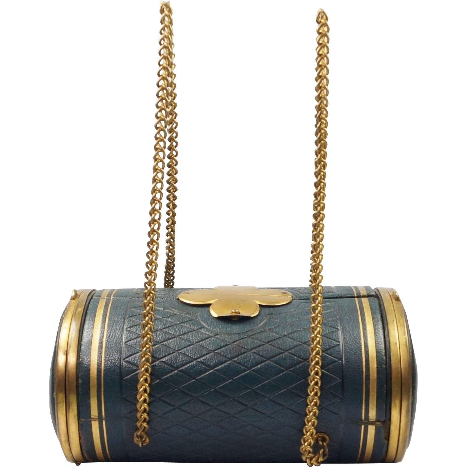 Antique 19th Century French Sewing Etui Casket Purse Box With Original Gilt Crochet Tools Circa 1870