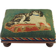 19th Century SMALL Dog Needlework Foot Stool Dash Queen Victoria's King Charles Spaniel After Landseer