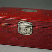 Antique Georgian Red Leather Sewing Box Sterling Silver Lock English Circa 1800
