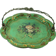 Antique French Papier Mache Green Dish Card Tray Bronze Handle Circa 1830 Faded Grandeur