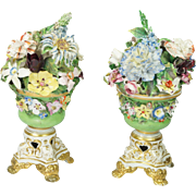 Antique Early 19th Century Derby Porcelain Vase Pair Encrusted Flowers Regency Era Circa 1825 AF