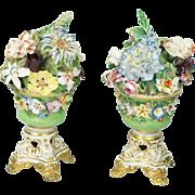 Antique Early 19th Century Derby Porcelain Vase Pair Encrusted Flowers Regency Era Circa 1825 AF