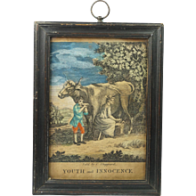 Antique 18th Century Miniature Engraving Youth And Innocence Sold By C Sheppard Circa 1790 Georgian