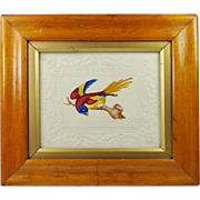 Antique Early 19th Century Georgian Bird Painting Dobbs Embossed Paper Circa 1820 Birds Eye Maple Frame