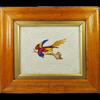 Antique Dobbs Watercolor Parrot Embossed Paper Circa 1820 Birds Eye Maple Frame