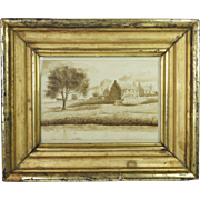 Antique Georgian Sepia Watercolor Painting Pen And Ink Drawing Rural Landscape Lemon Gilt Frame English Circa 1830