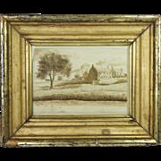 Antique Georgian Sepia Watercolor Painting Pen And Ink Drawing Rural Landscape Lemon Gilt Frame English Circa 1830