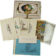 19th Century German Album Amicorum Friendship Album Box of Watercolor Paintings Drawings Circa 1860 Pretty