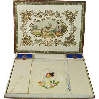 Antique 19th Century French Ladies Presentation Writing Box With Hand Painted Contents Circa 1853