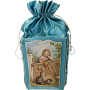19th Century French Silk Chocolate Box Candy Container Rare Purse Shape With Cat Kittens Dog  and Children Circa 1890