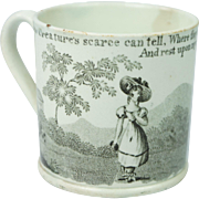 Early 19th Century Childrens Staffordshire Transferware Mug Cup Tankard Pearlware Virtues Isaac Watts Hymn English Circa 1820
