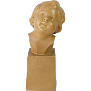 French Art Deco Terracotta Sculpture Bust Of A Child Signed D Daniel 1930s