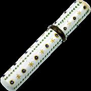 Antique English 18th century Enamel Bodkin Holder Needlecase Circa 1780 AF