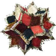 19th Century Victorian Pincushion Velvet Patchwork Star English Circa 1870