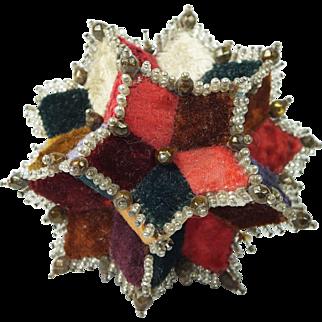 19th Century Victorian Pincushion Velvet Patchwork Star English Circa 1870