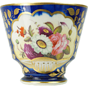 Early 19th Century Ridgway Porcelain Cup Floral Cobalt Blue London Shape Pattern 2/596 Circa 1820 STUNNING